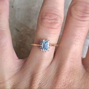 Jewelry - Aquamarine Diamond Halo Yellow Gold Ring Vintage